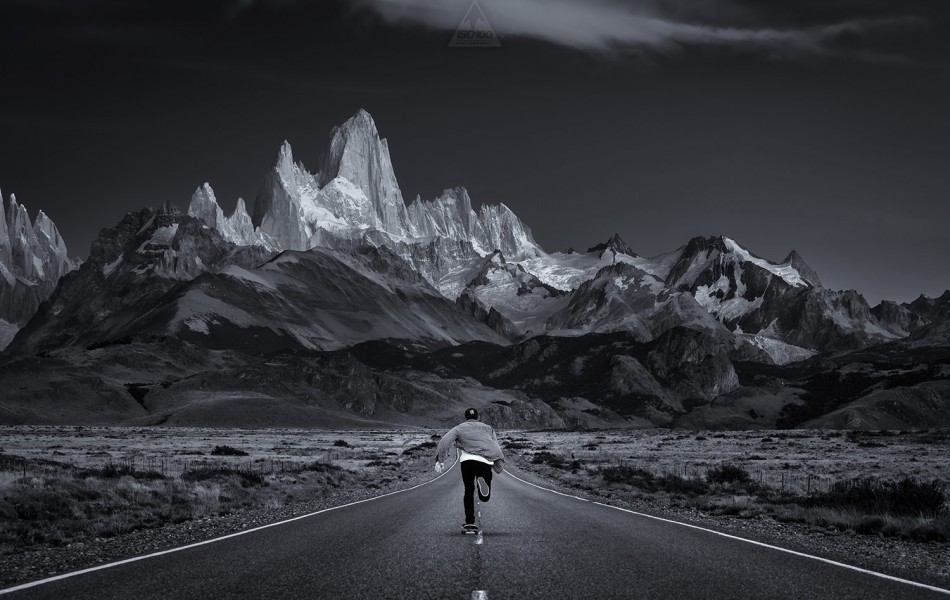 ©Iso100 Photography: Skating down the road to El Chalten